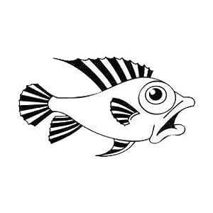 Worried fish swimming , Vinyl stickers, sticker - Vinyl