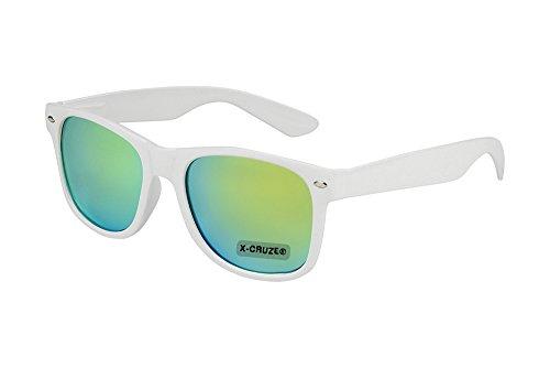 X-CRUZE® 8-060 X23 Nerd Sonnenbrille Style Stil Retro Vintage Retro Unisex Herren Damen Männer Frauen Brille Nerdbrille - weiß und grün-gelb verspiegelt