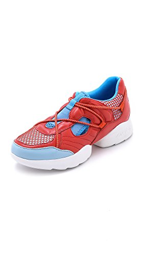 DKNY Mohn Rot Double Pod Läufer Trainer 39 Red Leather