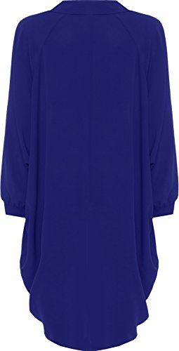 WEARALL Femmes Grande Taille Batwing Chemise Robe Longue Manche Trempette Ourlet Salut Il Bouton Collier Dames - Robes - Femmes - Tailles 44-54 Bleu Marin