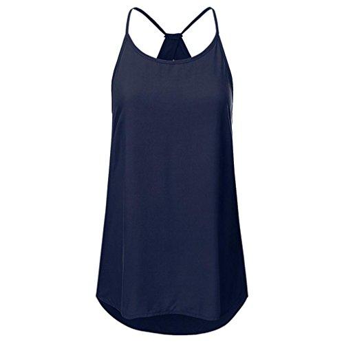 Lose Oberteile Kurzarm Tops V-Ausschnitt Bluse Basic T-Shirt (XXL,Marine) ()