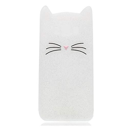 YuanYuZhongPhoneSky Silikon Samsung Galaxy E7 Hülle 3D Entwerfen Ohr Katze Premium Material Slim Vollschutz handyhülle für Samsung Galaxy E7 Mädchen Case Stoßfest/Weiß