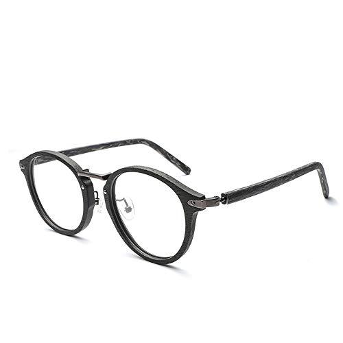 Männer Und Frauen Klassische Retro Runde Rahmen Gläser Klare Linse Holzmaserung Plain Gläser Für Brille (Color : 02 schwarz, Size : Kostenlos)