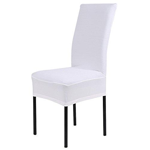 Housse de chaise stretch Housse Protection pour fauteuil, salle à manger Housse de chaise par Reaso (Blanc)