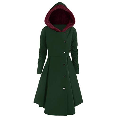 iHENGH Damen Herbst Winter Bequem Mantel Lässig Mode Jacke Frauen Plus Size Asymmetrische Fleece Mit Kapuze Einreiher Lange Drap Buttons Coat(Grün, 2XL)