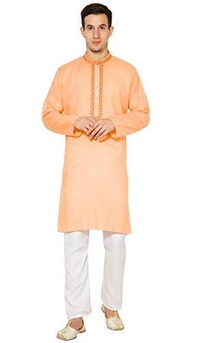 SKAVIJ Herren Baumwolle Kurta Pyjama Indischer Ethnisch Set (Orange, Brustumfang - 102 cm) -