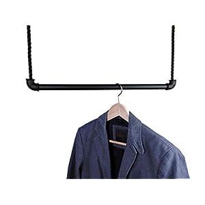 Hängegarderobe 50 cm schwarz aus Metall mit 4,5 m Seil – Kleiderstange Deckenmontage – Industrial Design