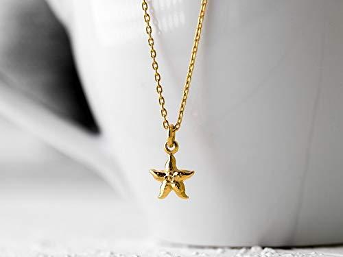 Hauchzarte kurze Kette: Zierliche Glieder-Kette aus vergoldetem 925 Sterling-Silber mit einem kleinen See-Stern
