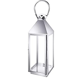Stainless Steel Lantern CCD 9605 Small Glass/Metal Garden Lantern