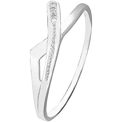 Libertini 9ct Oro Blanco Anillo de Diamante, 0.01 Ct Diamante, GH-PK, 3 piedras