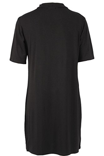 Ladies Roi de la route imprimé Choker cou T-shirt robe EUR Taille 36-42 Noir