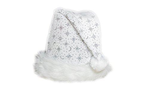 Kascha Weihnachtsmütze - Glitzernde Mütze aus Samt Stoff mit dickem Pelzrand Weiß...