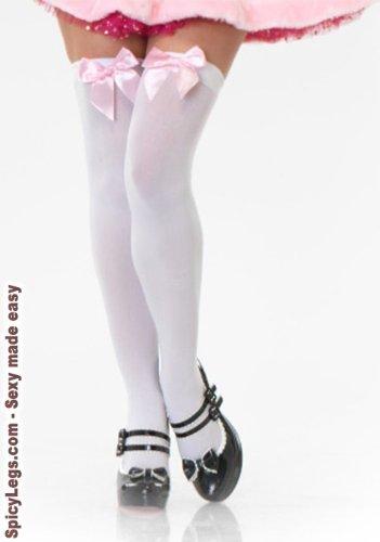 Leg Avenue - Overknees Nylon mit Schleife - LA 6255, Farbe:Weiss/Blassrosa;Groesse:One Size
