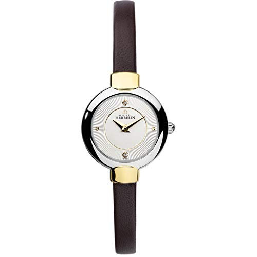 MICHEL HERBELIN WOMEN'S BROWN LEATHER BAND STEEL CASE QUARTZ WATCH 17410/T11A