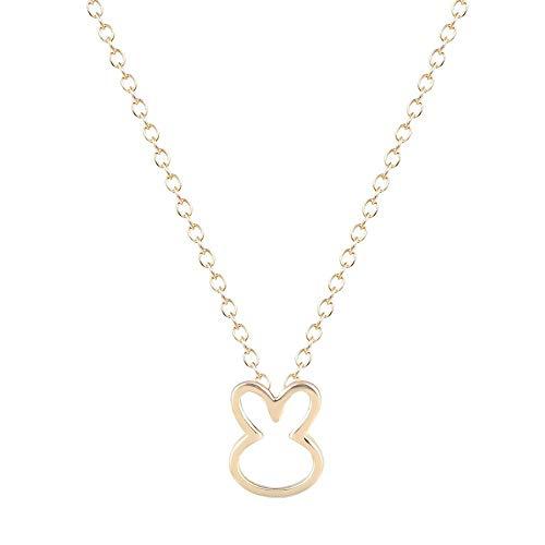 XZZZBXL Damenhalskette Einfache Charme Halsketten Geschenk für Mädchen Schnitt kleines Tier Kaninchen Anhänger Liebhaber Pet-Schmuck -