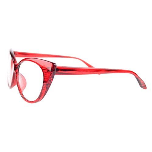 Bluelans® Klarglas Cateye Brille Damen Vintage Damenbrillen in verschiedenen Farben (Rot)