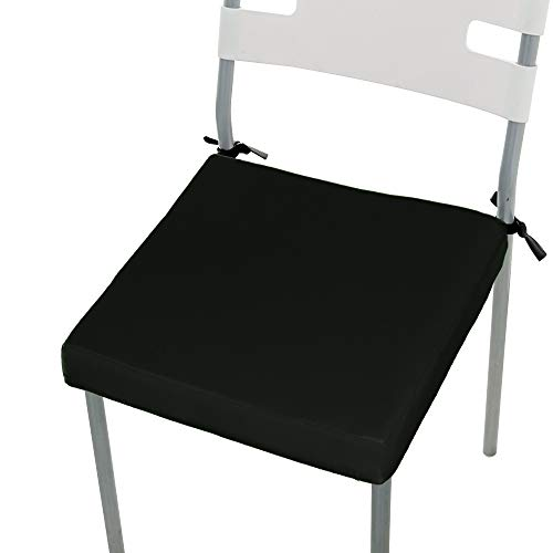 Stuhl-Auflage-Kissen ChicSoleil Sitzkissen Stuhlkissen Sitzauflage Stuhlauflage Bodenkissen Stuhl Pad Kissen für Indoor und Outdoor 50x44x4cm 1 Stück Schwarz - Basic-kissen-abdeckungen