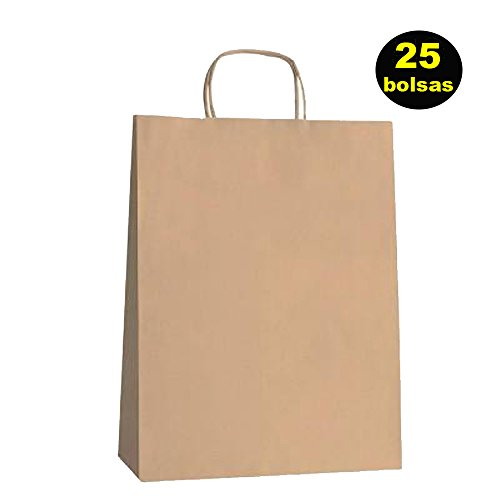 Yearol K01 25 Bolsas papel kraft marron asa rizada