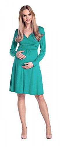 Happy Mama. Donna Abito elasticizzato prémaman vestito svasato manica lunga 890p Verde Acqua