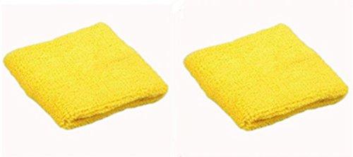 Dosige 2 Stück Sport Schweißband Handgelenk Handtuch Armschienen Tennis Badminton Gym Armband Wrist Wraps für Männer Frauen Damen Mädchen Gelb