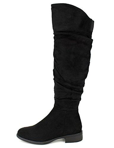 Cendriyon Bottes Noires Simili Cuir GIRLGOOD Chaussures Femme