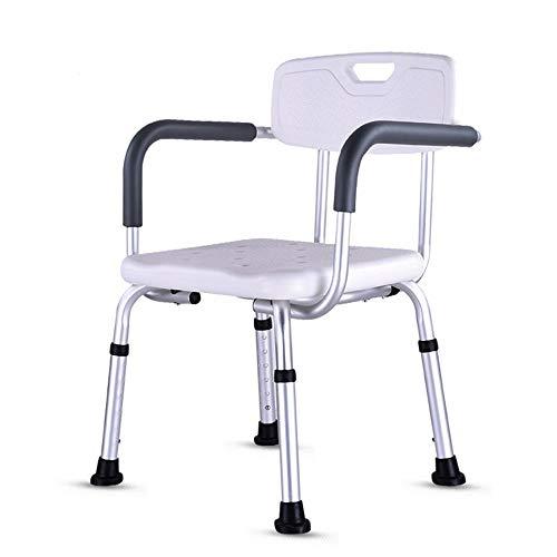 JFJL Duschstuhl mit Rückenlehne - Handicap Badewanne mit gepolsterter Armlehne für Behinderte, Senioren & ältere Menschen - Justierbarer medizinischer Bad-Schemel-Spa-Sitz mit Griffauflagen