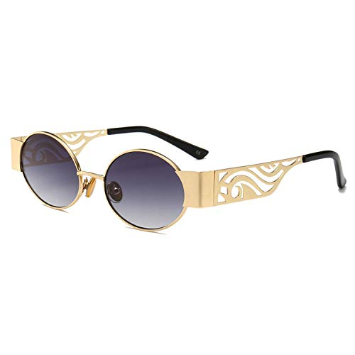 FGRYGF-eyewear2 Sport-Sonnenbrillen, Vintage Sonnenbrillen, Hollow Metal Frame Sunglasses Women Oval NEW Unisex Men Round Sun Glasses Steampunk Uv400 Gold Black Red as show in photo gold with red