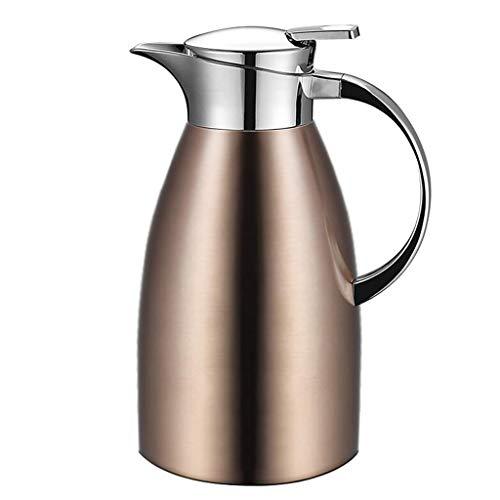 Dongyd Isolation Topf 304 Edelstahl Haushaltsthermoskanne Flasche Wasserkocher Große Kapazität Heißwasser Isolierkanne 2L (Farbe : Gold)