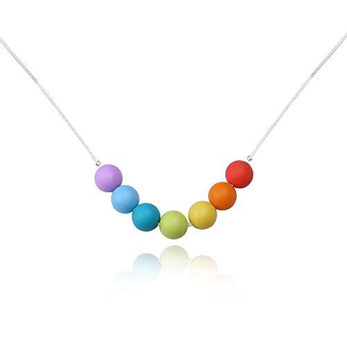 KOLOVEADA Regenbogen Silikon Halskette für Mütter mit Kinderkrankheiten Babys kaubare Lebensmittelqualität Pflege Silikonperlen Baby Zahnen Schmerzlinderung