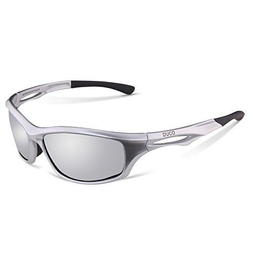 Duco Polarisierte Sport-Sonnenbrille zum Laufen Radfahren Angeln Golf TR90 Unbreakable Rahmen 6199 Silber Rahmen Spiegel Linse