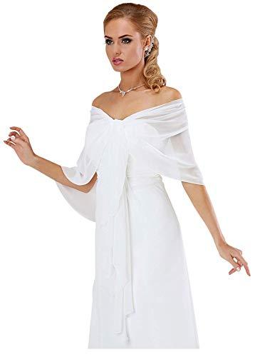 Brautchic chiffon stola perfetto per tutti abiti da sposa o abiti da sera - stola siede bene senza scivolare - bianco