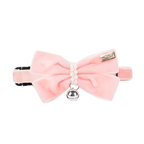 Xinwcang Haustier Hunde Halsbänder mit Bowknot Samt Zubehör Hochzeit Kragen für Kleine Hunde Pink S -