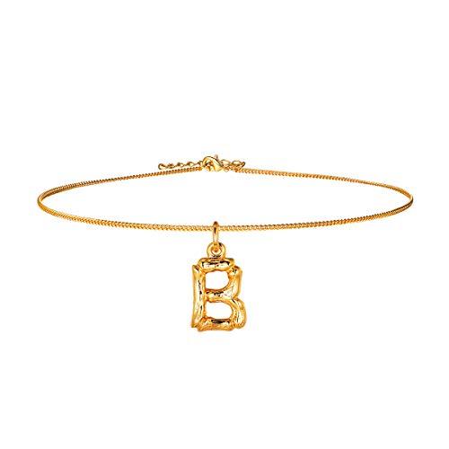 FOCALOOK Anhänger Halskette Gelbgold überzogend Damen Initiale Schmuck Bambus Stil kleine Buchstabe B Collier 40cm verstellbar Ankerkette Gold Women Necklace -