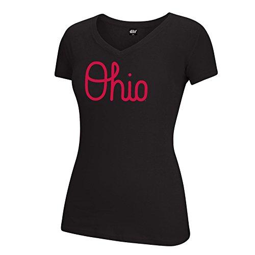 J. America Damen SS V Neck Baumwolle T Ohio State Band Script Essential Tee, Damen, SS V Neck Cotton T, schwarz (Ohio State Football-t-shirt)