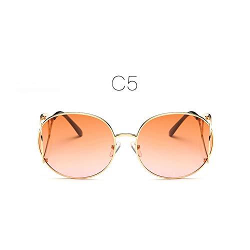 LLISA Mode Frauen runden optischen Rahmen Metall Gold umrandeten Brillen Brillen optische Gläser stilvolle komfortable Brillen,C5