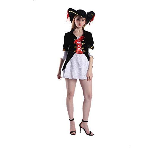 AINI Damen Piraten Kostüm Fluch der Karibik Minikleid Halloween Kostüme, Kostüm Cosplay Halloween Party Lustiges Outfit für Erwachsene-3 (Piraten Der Karibik Weibliche Kostüm)
