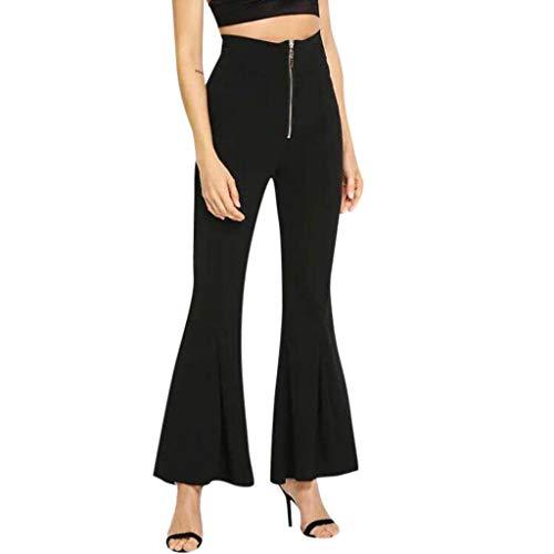 yazidan Damen Weite Hose Chiffon Paperbag Hose Casual Festliche Hosen Weite Bein Hohe Taille mit breiter Gummibund und Gürtel - Breite Trim V-neck Top