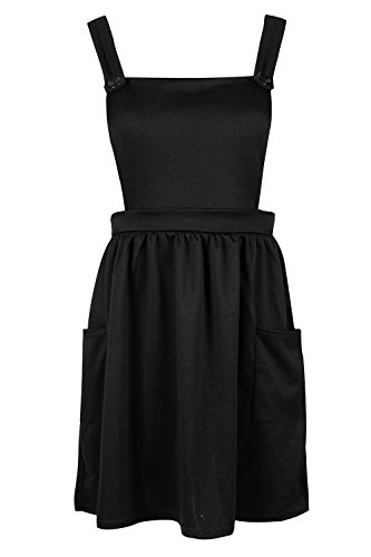 OOPS OUTLET Women Pinafore Dungaree Cross Back Ladies Side Pocket Mini Skater Dress Playsuit