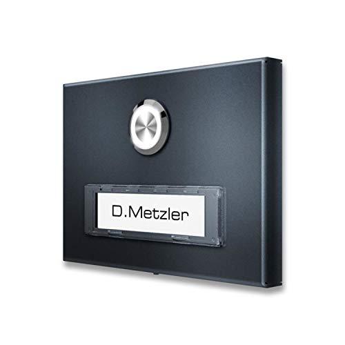 Aufputz Türklingel aus Edelstahl mit austauschbarem RENZ Namensschild (inkl. LED-Beleuchtung, Anthrazit)