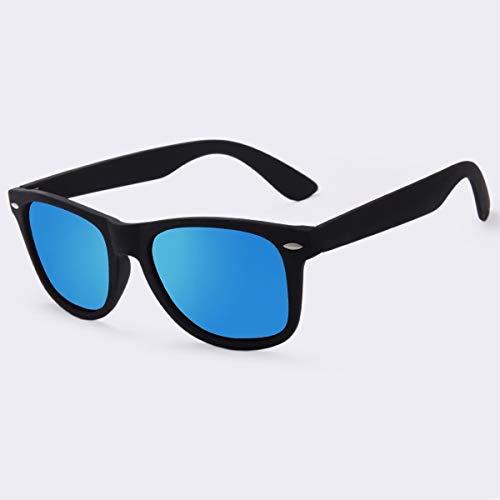 Kuxi b moda occhiali da sole uomo occhiali da sole polarizzati uomini che guidano specchi rivestimento occhiali da sole montatura nera occhiali da sole maschili,specchio blu