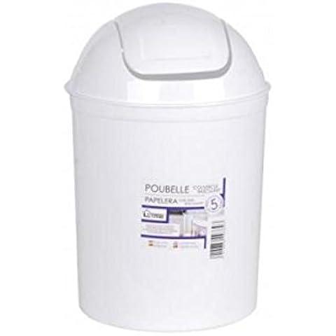 Papelera de baño (color blanco 5l, plástico–pequeña papelera blanca de Escritorio multiusos–Papelera esthéticienne–H.30X Dia.20cm
