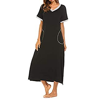 PRINCER Women V-Neck Solid Pocket Nightshirt Short Sleeve Nightgown Ultra-Soft Full Length Sleepwear Dress Daily Soft Spring Summer Occasion Casual Dresses Black