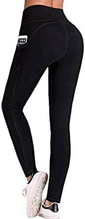 IUGA High Waist Yoga Pants Inner/Out Pocket Design UK840-Black-XSmall
