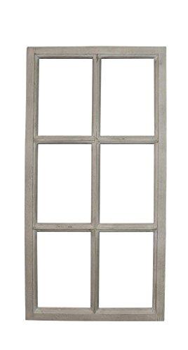 Posiwio Deko-Fensterrahmen Holz- Rahmen Fenster-Attrappe Holz grau Vintage