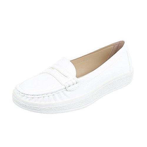 Mokassins Damen-Schuhe Geschlossen Moderne Ital-Design Halbschuhe Weiß, Gr 40, Lt-03-