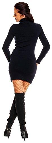 Zeta Ville - Damen Strick-kleid mit Rollkragen - Minikleid mit Stehkragen - 888z Navy