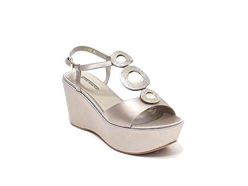 Luciano Barachini scarpa donna, modello sandalo gioiello 6316, in raso,colore champagne