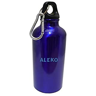 Personalisierte Wasserflasche mit Karabiner mit Text: Aleko (Vorname/Zuname/Spitzname)