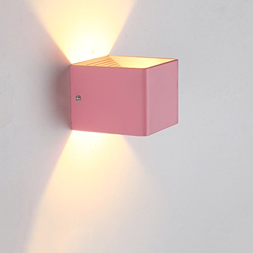 Unbekannt $Wall Lamp Light Post-Moderne LED-Wandleuchte Gang Nachttisch Wandleuchte Schlafzimmer Flur Kinder Macarons LE Wand-platzierte Quadratische Lampe Wanddekoration Lichter (Farbe : F)