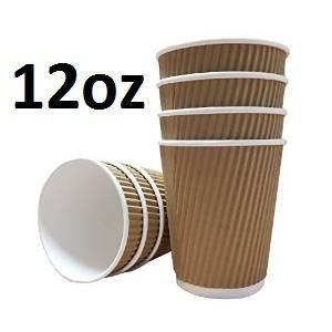 100 X 12oz / 360ml Kraft triple walled disposable paper ripple cups by Halma
